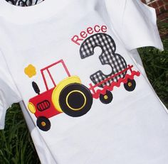 Boys Personalized Appliqued Birthday Red Tractor Tee. $22.95, via Etsy.