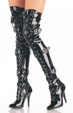 6004186b8107 5 inch Ribbon Stretch Thigh BT W Grommet 5 inch Heel Ribbon Stretch Thigh  Boot with Grommet