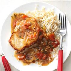 Saucy Pork Chop Skillet Recipe -I like this skillet dinner because it`s quick and healthier than most comfort food dinners. My family requests it often and it's inexpensive to feed six people. With a salad and fruit it`s a good meal. —Donna Roberts, Manhattan, Kansas