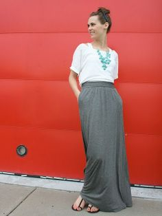 just got a gray maxi skirt and now know what to pair it with! love turquiose necklaces.