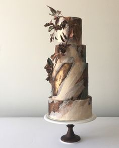 Modern Wedding Cakes Brown, bronze and cream marble wedding cake - This art cake collection showcases an abstract approach to cake decorating. Each work of food art demonstrates the artist's unique style. Beautiful Wedding Cakes, Beautiful Cakes, Amazing Cakes, Perfect Wedding, Unusual Wedding Cakes, Unique Cakes, Creative Cakes, Bolo Cake, Gateaux Cake