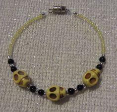 Yellow Skull Bracelet by SummerCAmber on Etsy, $11.50