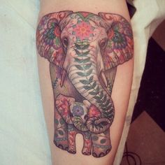 sugar skull elephant and baby tattoo - Google Search
