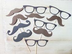 14 Sunglasses Mustache (nerd, Little man) Cupcake Toppers. $12.00, via Etsy.