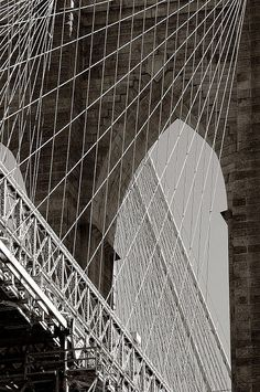 NYC. Brooklyn Bridge from below - wonder what she was like when Sandy visited