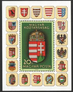 Hungarian stamp depicting crests thru the centuries. Easter Egg Designs, Asian History, British History, Austro Hungarian, In A Little While, Budapest Hungary, My Heritage, Stamp Collecting, Coat Of Arms