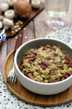 champignons risotto crozets aux de risotto de crozets aux champignonsYou can find How to cook bacon and more on our website Healthy Meals To Cook, No Cook Meals, Healthy Cooking, Cooking For One, Batch Cooking, Pasta, Meat Recipes, Healthy Recipes, Online Recipes