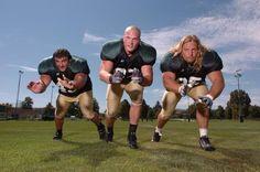 The big three on the CSU defensive line - from left, Matt Rupp, Blake Smith and Erik Sandie - provide a veteran presence along with plenty of bulk.