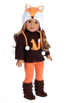 Foxy - 4 Piece Outfit - Hat, Blouse, Leggings and Boots.  (Doll Not Included)