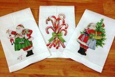 Toallas de lino con motivos navideños.