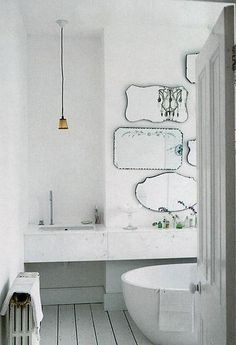 Mirror hangings | Inspirational images and photos of Baths, Marble : Remodelista