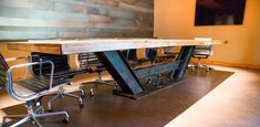 Here is a 15 ft conference table we made for a customer out of reclaimed Tobacco barn brown barn wood. Timber Furniture, Iron Furniture, Steel Furniture, Custom Furniture, Furniture Design, Industrial Dining, Industrial Furniture, Metal Beam, I Beam