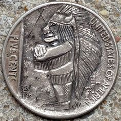 CHAD SMITH HOBO NICKEL - MINIMAN INDIAN CHIEF - 1936 BUFFALO NICKEL REVERSE CARVING Hobo Nickel, Art Forms, Sculpture Art, Buffalo, Coins, Faces, Carving, Clay, Indian