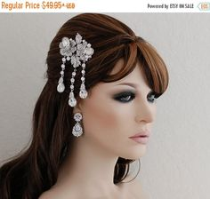 SALE Crystal Bridal Comb Wedding Art Deco Comb by EleganceByKate