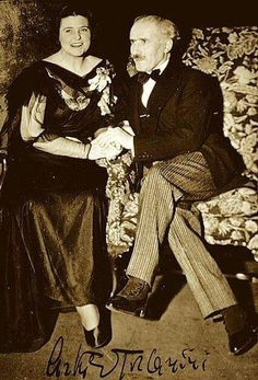 Lotte Lehmann & A.Toscanini.  Check out his striped trousers and spats!