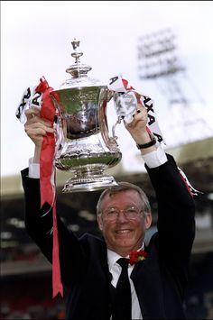 Sir Alex Ferguson celebrates winning his third FA Cup for @manutd during the historic Treble-winning season of 1999.