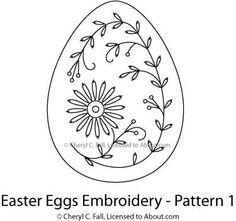 Stitch a set of four brightly-colored embroidered Easter eggs using this free hand embroidery pattern. The set is worked in basic surface embroidery stitches a Embroidery Transfers, Hand Embroidery Patterns, Embroidery Applique, Cross Stitch Embroidery, Embroidery Designs, Embroidery Tattoo, Embroidery Jewelry, Embroidery Thread, Easter Egg Pattern
