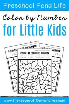 Teach preschoolers kindergartners important skills including number recognition and fine motor practice. These no prep printable Color by Number Pond Preschool Worksheets are quick easy for preschool teachers and homeschool mamas alike. Preschool Monthly Themes, Preschool Teachers, Numbers Preschool, Preschool Worksheets, Preschool Kindergarten, Preschool Printables, Sensory Activities Toddlers, Kids Learning Activities, Teaching Resources
