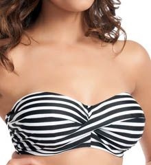 Fantasie Swimwear Genoa Underwire Twist Bandeau Bikini Swim Top (FS5834). Slink or swim in this twist-front, striped bandeau swim top. Made of nylon/Lycra spandex. Horizontal stripes give your top visual width, perfect for pear-shaped figures. Underwire cup has exterior transversal seaming with lightly padded 3-part inner construction. Halter straps remove with coated metal hardware and tie at back of neck. #spandex #coupons #swimwear