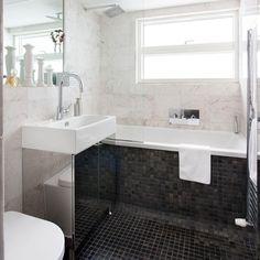 Monochrome marble tiled bathroom   Bathroom decorating ideas   Style at Home   Housetohome.co.uk
