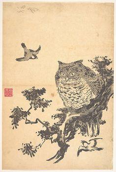 Owl and Two Swallows, Edo period, Japan