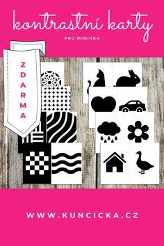 Černobílé kontrastní karty pro miminka ke stažení ZDARMA. #černobílé #kontrastní #promiminka #kestažení #blackandwhite #highcontrast #forbaby #freeprintables #kartypromiminka Blog
