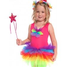 Candy Fairy Dress:-  A bright new tutu dress with all the colours of the rainbow in the skirt. A soft polyester top with a tulle bow-tie to match the crazy skirt.