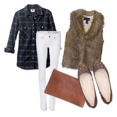 a good early spring outfit- white pants and fur vest!
