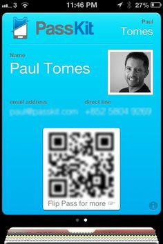 Passbook Pass Business Card for Paul Tomes, co-Founder and CEO of PassKit. Flip the pass for links to vcard