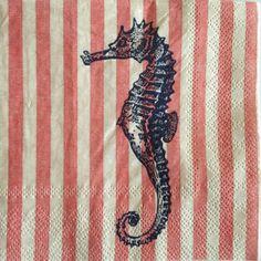 10-Paper-Napkins-Decoupage-Seahorse-Stripes-Nautical-Beverage-Craft-Gibson