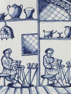 Interior de un taller de ceramista con dos alfareros trabajando sobre sendas ruedas ¿de radios impulsadas con un palo? Paises Bajos ¿Loza de Delf? Musée National de la Cerámique de Sevres. Exp. Sèvres Inv. nº MNC9679