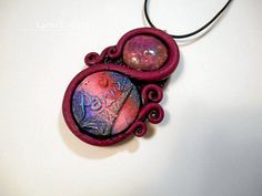 I Love Paris burgundy & black polymer clay jewelry pendant necklace handmade One of a Kind by LynzCraftz on Etsy