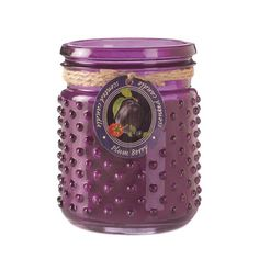 "Candleholders & Candles Home Locomotion This beautiful jar candle creates a lovely aroma that will delight your senses! The deep purple hobnail jar is home to a plum berry scented candle that burns for hours. 16 oz and burns up to 100 hours. Item weight: 2.00lbsItem dimensions: 3.75"" W x 5.00"" H x 3.75"" LMaterials: Wax - Parraffin, Glass, Lead Free WickUPC: 849179024130"