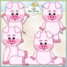 Piggy Boys 1 - Non-Exclusive Angie Wenke Clip Art : Digi Web Studio, Clip Art, Printable Crafts & Digital Scrapbooking!