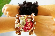 National Sewing Month: Ruffled Wrist Cuff by Megan of Brassy Apple - FaveCrafts Fabric Bracelets, Fabric Jewelry, Diy Jewelry, Beaded Jewelry, Jewelry Making, Cuff Bracelets, Jewlery, Bangles, Diy Crafts For Gifts