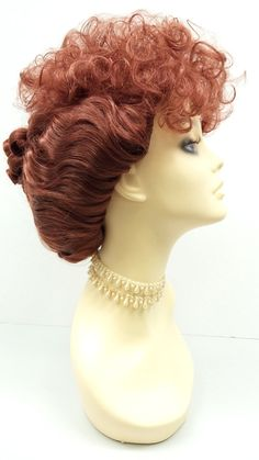 Light Red Curly Updo Wig. Lucille Ball Style Wig. by ParamountWigs