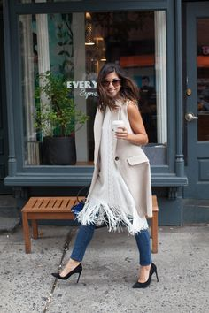 This Time Tomorrow: 9 to 5 style: 1 vest, 3 ways {with intermix} Pretty Outfits, Stylish Outfits, Spring Summer Fashion, Autumn Winter Fashion, Dress Over Jeans, Fashion Pants, Fashion Outfits, Work Chic, Street Style