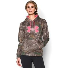 Under Armour Women's UA Camo Big Logo Hoodie ($56) ❤ liked on Polyvore featuring activewear, activewear tops, under armour sportswear, logo sportswear and under armour