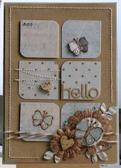 kraft card with inchies in light blue and white...