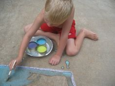 "Sidewalk Paint.  1:1 ratio with cornstarch and water.  Add food coloring...wallah- paint  Careful b/c it will ""stain"" the concrete but a litle bleach or heavy rain should take care of it....#kids #craft #art #play #child #sidewalk #chalk"