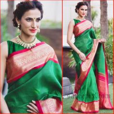 "Hyderabad fashion designer Shilpa reddy sarees at ""Gudi Sambaralu"" event 2016. Shilpa reddy in brown silk saree, green Kanchipuram silk saree photos."