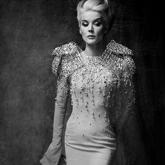 Daphne Guinness exudes glamour wearing AV in a Vanity Fair photoshoot by Michael Roberts #hautecouture #luxury  #modewalk