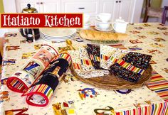 Bistro tablecloth with matching placemats and napkins.