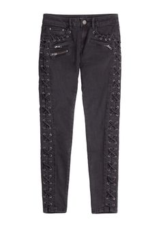 Skinny Jeans with Lace-Up Trim detail 0