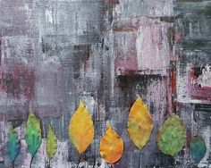 LEAVES in Concrete Jungle Abstract Art Prints by KathleenWongArt