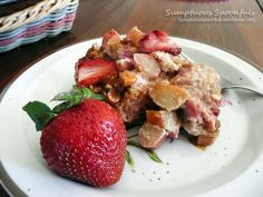Strawberry Rhubarb Baked French Toast with Mascarpone and Cinnamon Toasted Almonds for my Mom