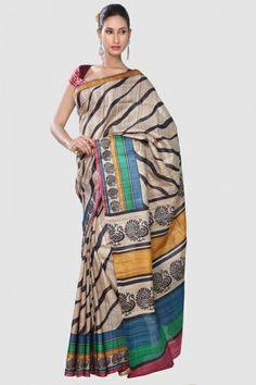 Khaki Hand Print Black Lehriya Ghicha Tussar Silk Saree