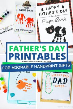 Use our Father's Day printables to create special handprint and fingerprint keepsake gifts for Dad and Grandpa. #fathersday #printables Free Printable Art, Free Printables, Presents For Mom, Gifts For Dad, Fathersday Crafts, Father's Day Activities, Worlds Best Dad, Teacher Appreciation Gifts, Teacher Gifts