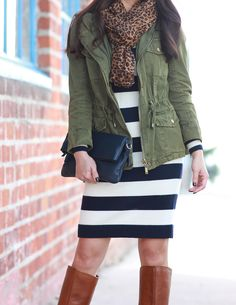 StylishPetite.com | Green utility jacket, striped sweater dress, cognac boots, leopard scarf, navy leather foldover clutch, fall outfit