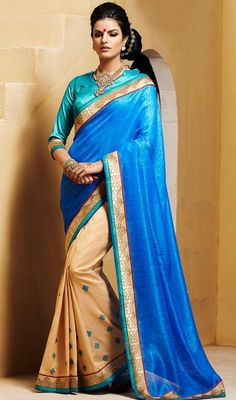 Find yourself more stylish dressing in this blue and beige color bhagalpuri silk half n half sari. The beautiful lace and stones work a substantial attribute of this attire. Upon request we can make round front/back neck and short 6 inches sleeves regular saree blouse also. #LatestSkyblueAndCreamEveningSari
